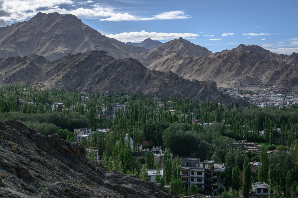 The town of Leh, India in the province of Ladakh.